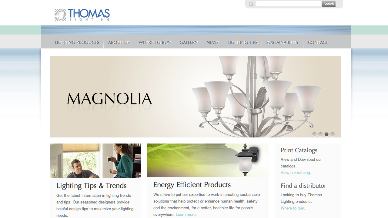 Thomas lighting website home page