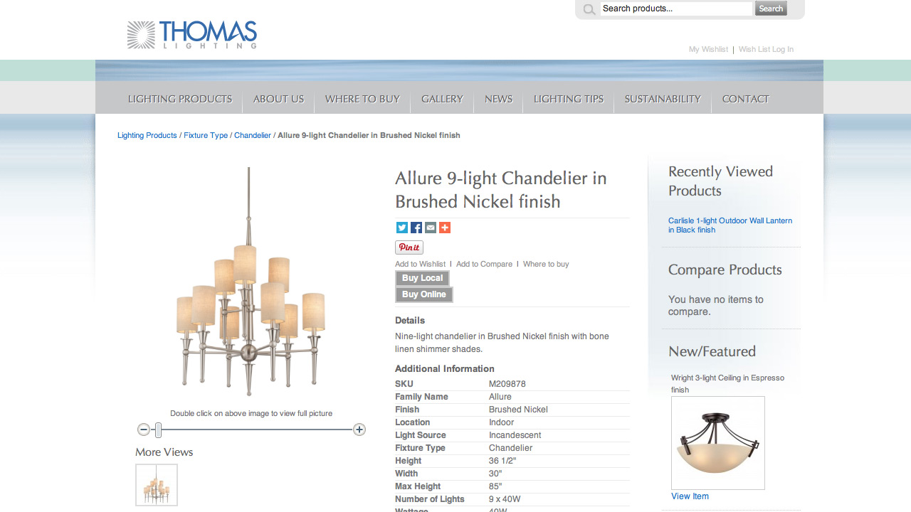 Thomas Lighting Website
