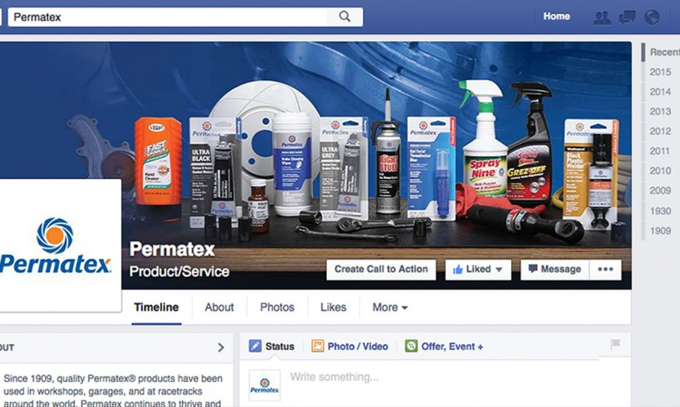 Permatex Facebook Page Preview