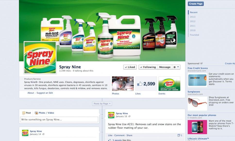 Spray Nine Facebook Page