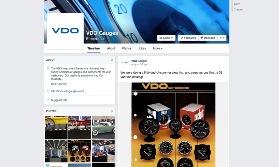 VDO Gauges Facebook Page